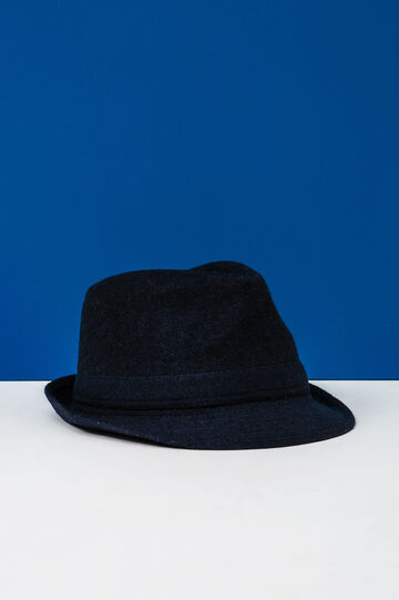 Hat with solid colour band, Navy Blue, hi-res