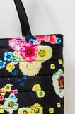 Quilted shoulder bag with print, Black, hi-res