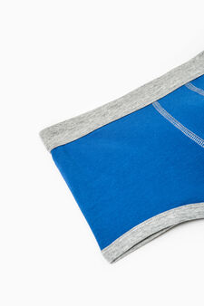 Solid colour stretch cotton boxer shorts, Blue, hi-res