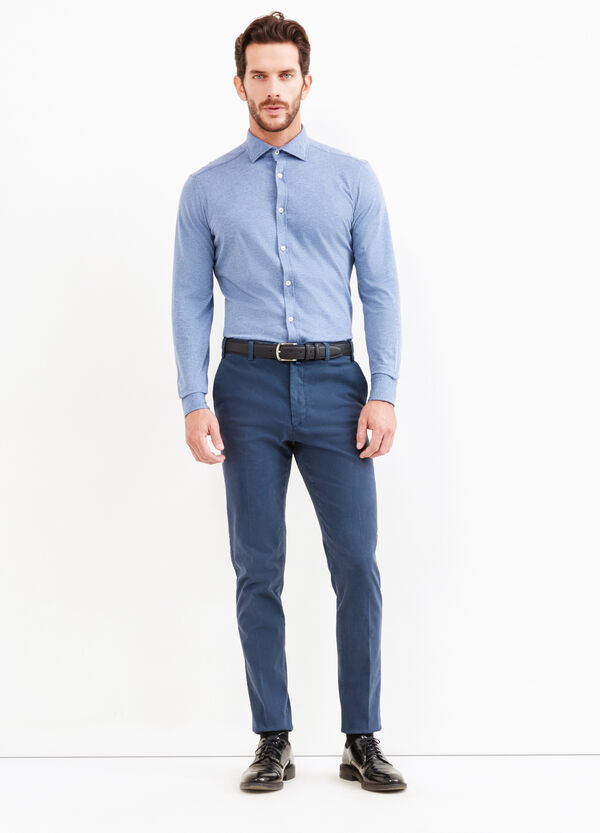 Slim-fit Rumford shirt with micro polka dot pattern | OVS