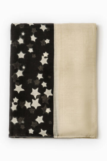 Scarf with printed stars, Black, hi-res