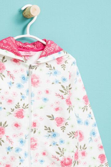 Felpa in puro cotone fantasia floreale, Bianco/Rosa, hi-res
