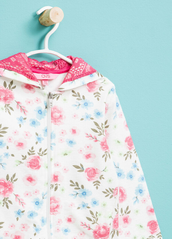 Sudadera en algodón 100% con estampado floral | OVS