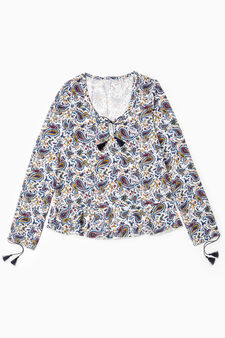 Pyjama top with paisley print, White, hi-res