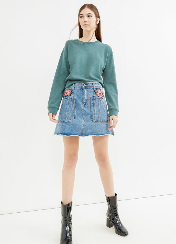 Denim skirt with flower patches | OVS