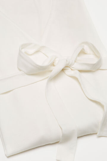 Solid colour 100% cotton dressing gown, Cream White, hi-res