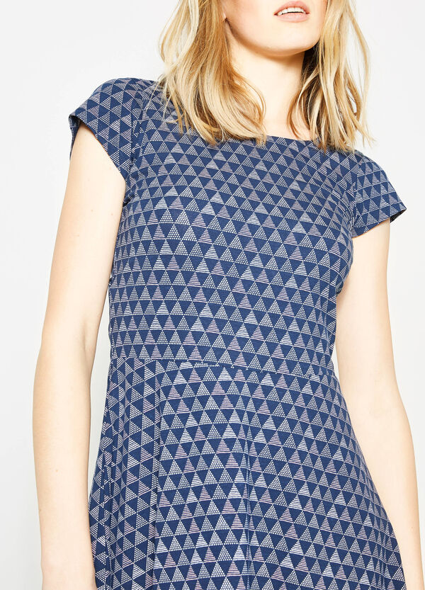 Stretch cotton dress with all-over print | OVS