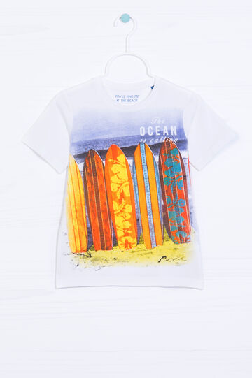 Printed T-shirt in 100% cotton, White/Blue, hi-res