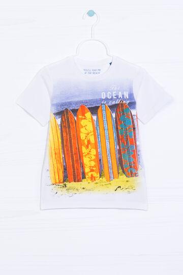 T-shirt puro cotone con stampa, Bianco/Blu, hi-res