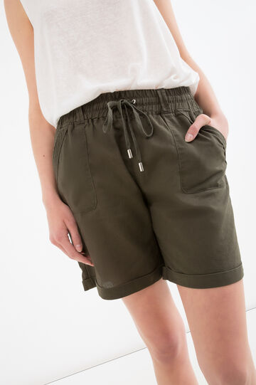 Cotton and linen shorts with drawstring, Green, hi-res