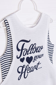 Top and vest set with print, White/Blue, hi-res