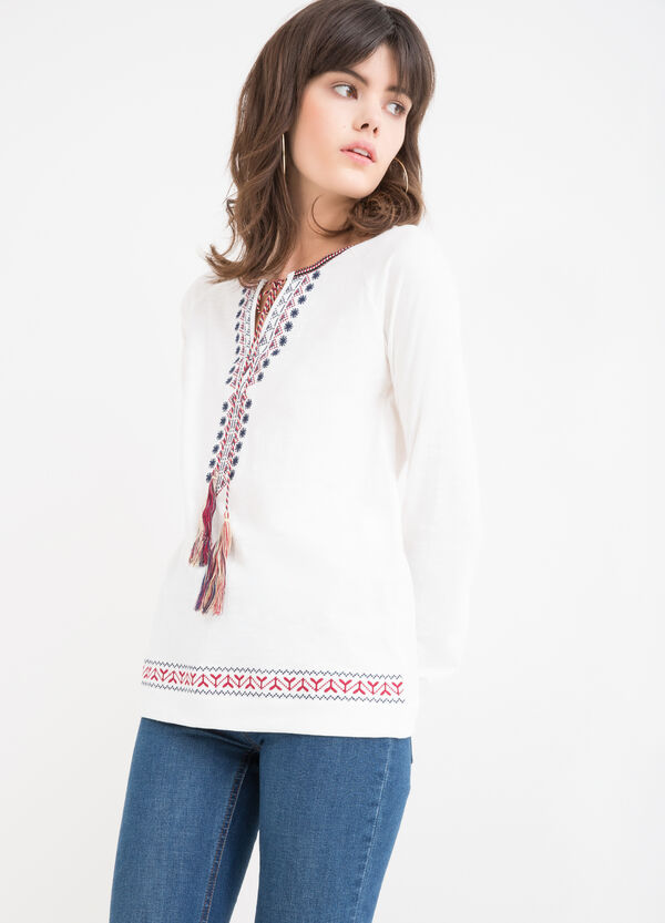 Patterned T-shirt in 100% viscose | OVS