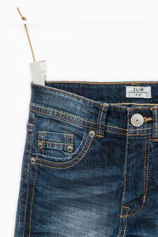 Jeans slim fit stretch con baffature, Lavaggio medio, hi-res
