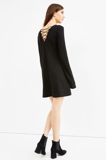 Ribbed dress with ties on the back, Black, hi-res