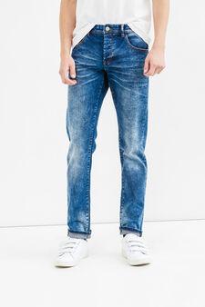 Jeans slim fit effetto used stretch, Lavaggio medio, hi-res