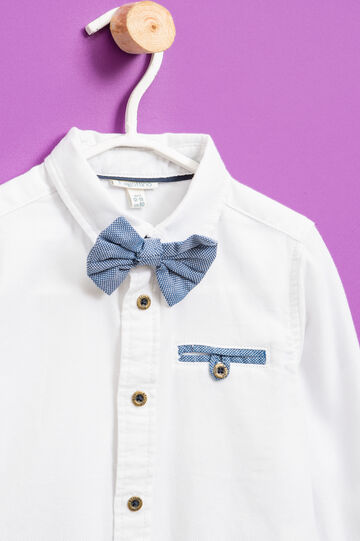 100% cotton shirt with bow tie, Milky White, hi-res