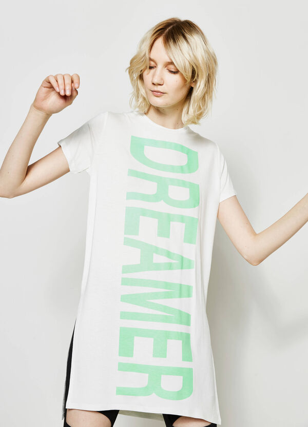 Long T-shirt with printed lettering | OVS