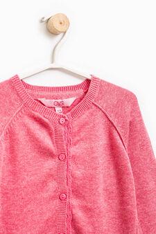 Solid colour viscose and cotton cardigan, Dark Pink, hi-res