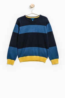 Striped knitted pullover in 100% cotton, Blue/Light Blue, hi-res