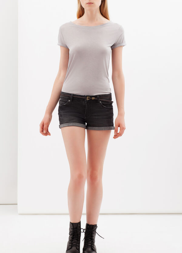 Mélange T-shirt with boat neck | OVS