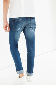 Stretch slim fit jeans with abrasions, Medium Wash, hi-res