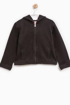 Solid colour 100% cotton sweatshirt, Black, hi-res