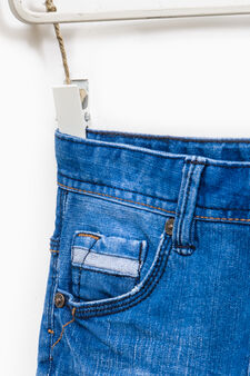 Denim Bermuda shorts with abrasions, Cornflower Blue, hi-res