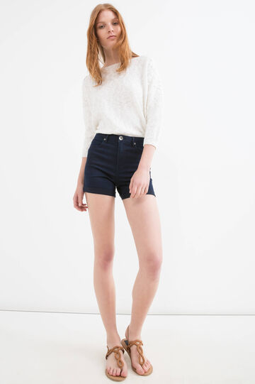 High-waist stretch denim shorts, Dark Wash, hi-res