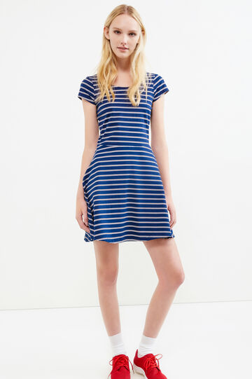 Short printed dress in stretch cotton, White/Blue, hi-res