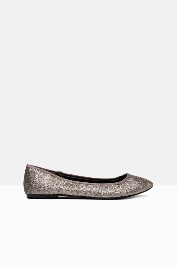 Leather look ballerina flats with glitter | OVS