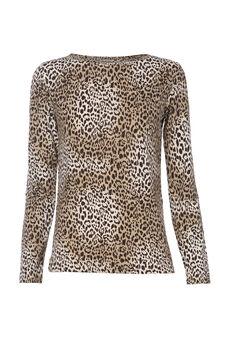 Smart Basic patterned stretch T-shirt, Beige, hi-res