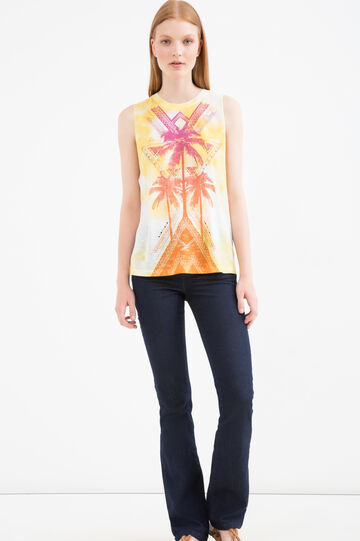 Long top with maxi print, Yellow, hi-res
