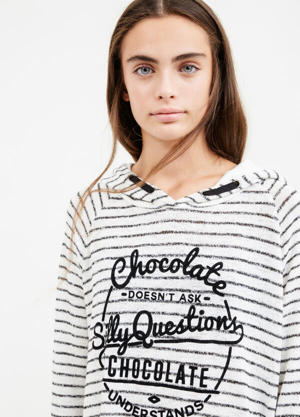 Teen stretch viscose striped sweatshirt | OVS