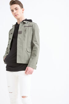 Solid colour 100% cotton pullover, Army Green, hi-res