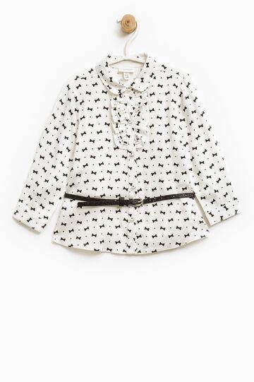 Viscose blouse with glitter belt, White, hi-res