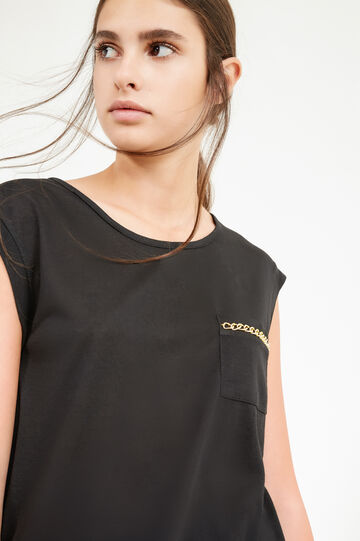 Cotton T-shirt with pocket and chain, Black, hi-res