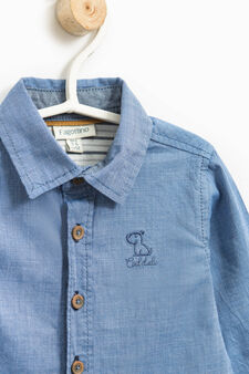 100% cotton shirt with embroidery, Blue, hi-res
