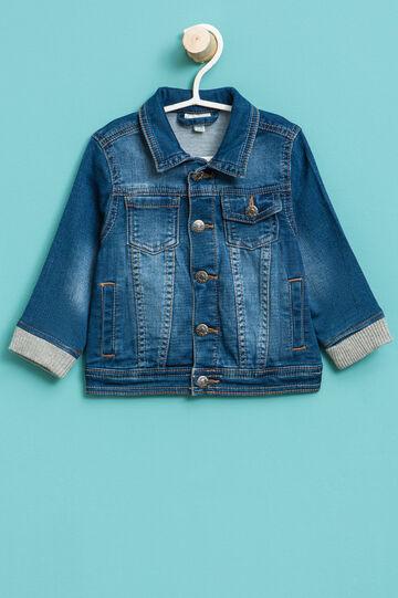 Denim jacket with ribbing, Blue, hi-res