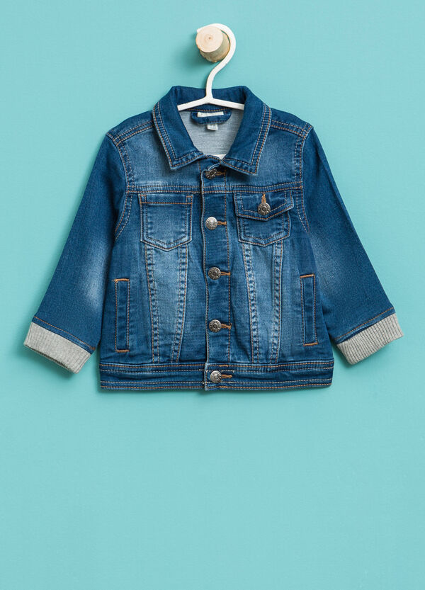 Denim jacket with ribbing | OVS
