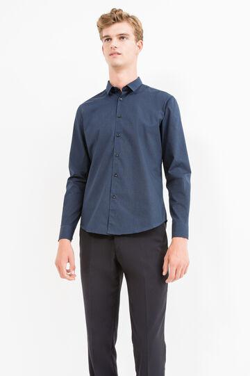 Camicia casual slim fit in misto cotone, Blu/Grigio, hi-res