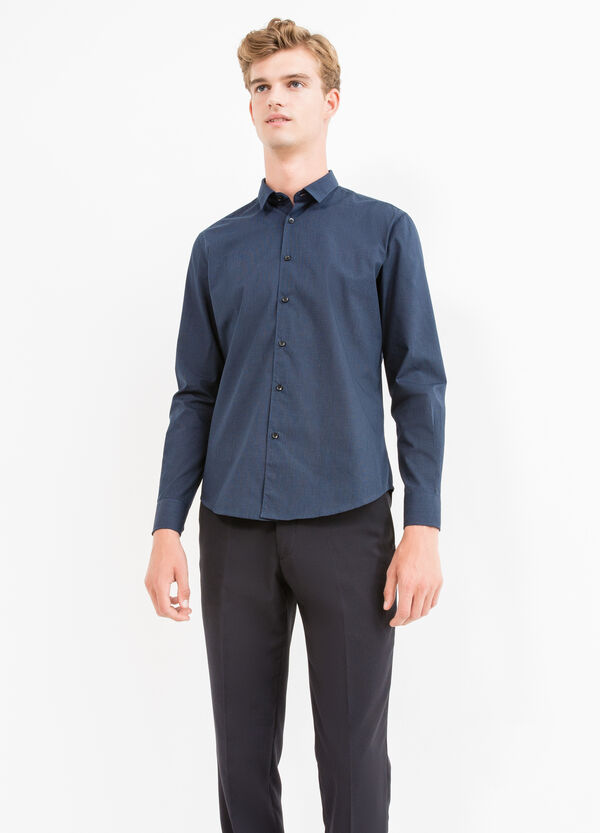 Cotton blend slim fit casual shirt | OVS