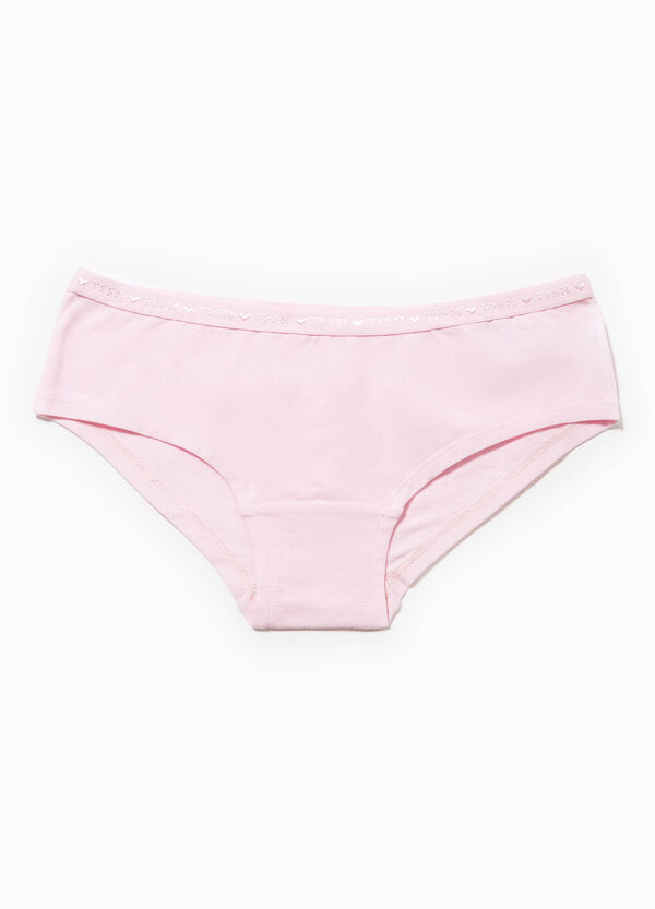 Stretch cotton French knickers with lettering embroidery | OVS