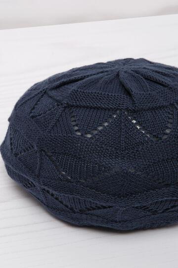 Openwork cotton beret, Navy Blue, hi-res