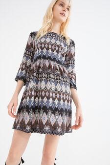 100% viscose dress with print, Black, hi-res