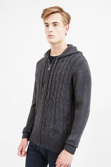 Solid colour hooded cardigan, Smoke Grey, hi-res