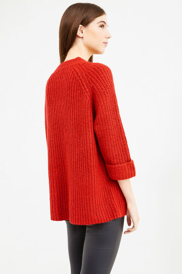 Knitted pullover with three-quarter sleeves, Light Red, hi-res