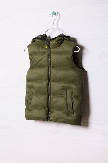 Camouflage quilted and hooded waistcoat