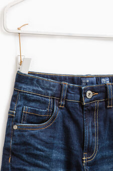 Worn-effect jeans with whiskering and fading., Dark Blue, hi-res