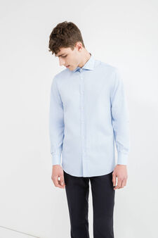 Regular-fit formal shirt in 100% cotton, Soft Blue, hi-res