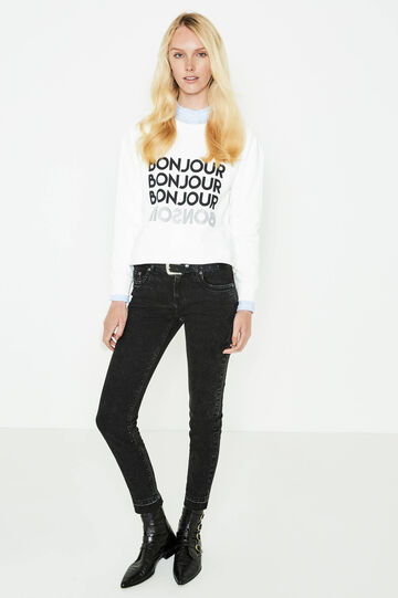 Cotton crop sweatshirt with printed lettering, Milky White, hi-res
